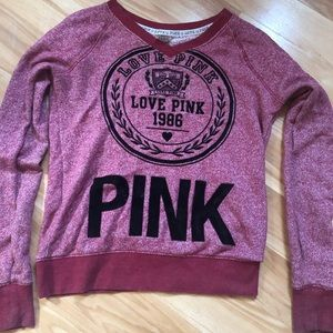 Pink Pullover Sweatshirt Maroon SM